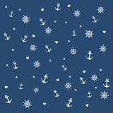 Pattern of different elements nautical theme. Stock Images