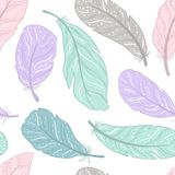 The pattern different feathers are painted on a white background. Painted in delicate colors. Hand draw illustration Royalty Free Stock Photo