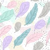 The pattern different feathers are painted on a white background. Painted in delicate colors. Hand draw illustration Stock Images
