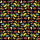 Pattern of different fruit. Strawberry, blueberry, cherry, plum, watermelon, pear, pineapple, banana and cherry. Fruit and vegetable on black background Royalty Free Stock Photography