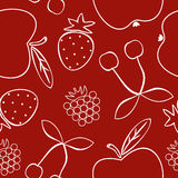 Pattern with different fruits. Seamless pattern with different fruits on red background Stock Illustration
