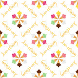 Pattern with different ice-cream on the white background. Cute bright seamless pattern with different ice-cream on the white transparent background. Chocolate Stock Images