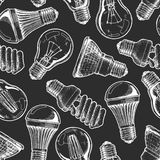 Pattern with different lightbulb royalty free illustration