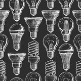 Pattern with different lightbulb vector illustration