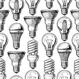 Pattern with different lightbulb Royalty Free Stock Images