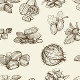 Pattern of the different nuts Stock Photo