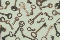 Pattern of different old rusted keys Royalty Free Stock Image