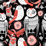 Pattern different owls Stock Image