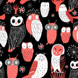 Pattern different owls Royalty Free Stock Photography