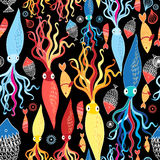 Pattern of different squid and fish Royalty Free Stock Images