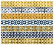 Pattern of 7 different yellow and blue relief tiles Stock Photography