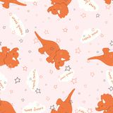 Pattern dinosaur sleep. Seamless pattern with cartoon sleepy dinosaurs, clouds, stars and inscriptions sweet dreams, cute background for sleep Stock Photos