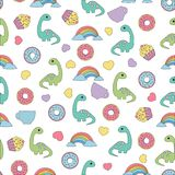 Pattern with dinosaurs and food Stock Photos