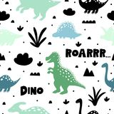 Pattern with dinosaurs on white backgrond. Pattern with dinosaurs on white backgrond stock illustration