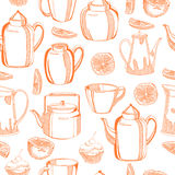 Pattern with dishes Royalty Free Stock Photography