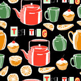 Pattern with dishes Royalty Free Stock Images