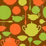Pattern with dishes Stock Image
