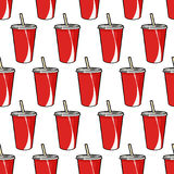 Pattern with disposable red soda cup with straw for poster, menus, brochure, web fast food business. Cartoon style  on white background Stock Images