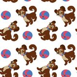 Pattern with dog and ball on white background. royalty free illustration