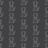 Pattern with dog and bone. Seamless pattern with cute white contoured sitting dog with big heart, closed eyes holding bone in its mouth isolated on grey