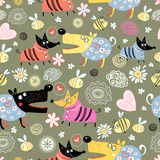 Pattern of dog lovers. Seamless pattern of the fun lovers dogs bees and flowers stock illustration