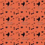 Pattern with dog and dog`s foot prints and ossicle Royalty Free Stock Image