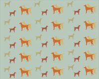 Pattern with dogs on a gray background. Pattern with dogs of different sizes on a gray background, red, yellow, orange, green dogs. background, texture, design Stock Image