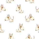 Pattern with dogs. Seamless pattern with cute cartoon dogs breed  bullterrier on white  background. Little puppies. Children's illustration. Vector image. Funny Stock Images