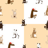 Pattern with dogs. Seamless pattern with  dogs having coffee on  checkered background Royalty Free Stock Photos