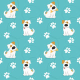Pattern with dogs and traces of dog paws. Stock Photo