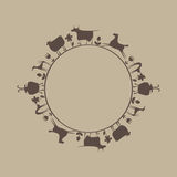 The pattern of domestic animals in a circle. In beige Stock Photography