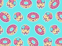 Pattern of Donut and Ice Cream with cute kawaii face expression stock illustration
