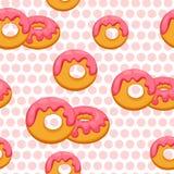 Pattern donut with pink glaze. Vector Illustration eps 10 Stock Photography