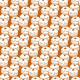 Pattern with donuts, popular food for Chanukah. Seamless pattern with donuts, Sufganiyah. Popular food for Chanukah. Jewish holiday Hanukkah stock illustration