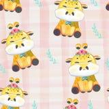 Pattern Doodle baby giraffe in watercolor. stock illustration