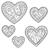 Pattern doodle black white heart graphic set illustration Stock Photo