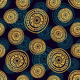 Pattern Doodle Circles 3. Seamless abstract pattern with hand- drawn circles, dark background with bright yellow round shapes, EPS 8 Stock Images