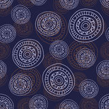 Pattern Doodle Circles. Simple seamless abstract pattern with hand- drawn circles, dark background with round shapes, EPS 8 Royalty Free Stock Images