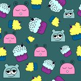 Pattern with doodle doodes and cakes royalty free illustration