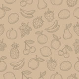 Pattern doodle drawn fruits Stock Photography