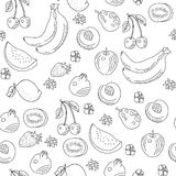 The pattern of doodle of fruit Stock Images