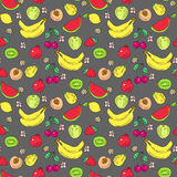 The pattern of doodle of fruit, colored Stock Photos