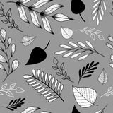 Pattern with doodle leaves and branches stock illustration