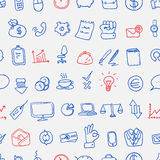Pattern of doodle office, business icons set, vector Royalty Free Stock Image