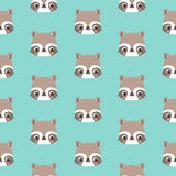 Pattern with doodle raccoons face. Pattern with doodle raccoons face; animal  seamless pattern Stock Photos