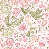 Pattern doodles bird and flowers Royalty Free Stock Photography