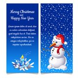 The pattern of double vertical Christmas card with snowman and sample text. Vector illustration. The pattern of double vertical Christmas card with snowman and Royalty Free Stock Photos