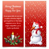 The pattern of double vertical Christmas card with snowman and sample text. Vector illustration. The pattern of double vertical Christmas card with snowman and Stock Photo