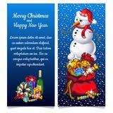 The pattern of double vertical Christmas card with snowman and sample text. Vector illustration. The pattern of double vertical Christmas card with snowman and Royalty Free Stock Images
