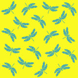 Pattern dragonfly. Delicate dragonfly on a bright background Royalty Free Stock Image